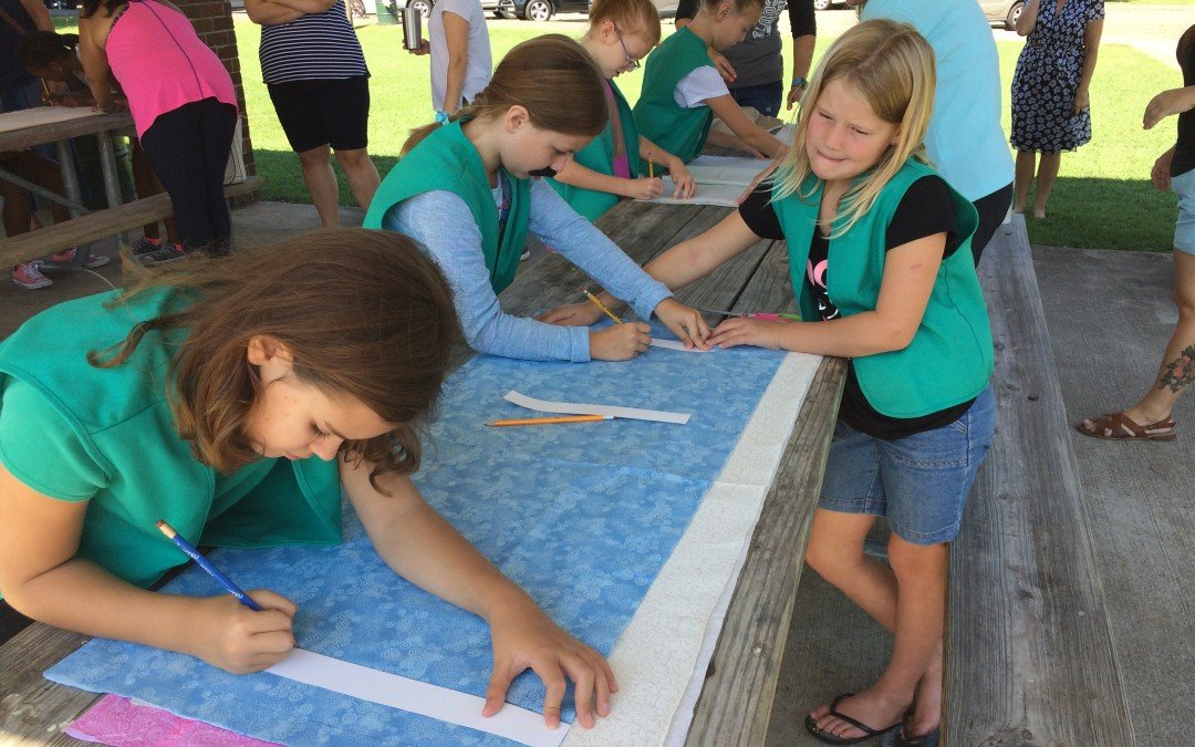 Scouts Help Prep Weaving Project