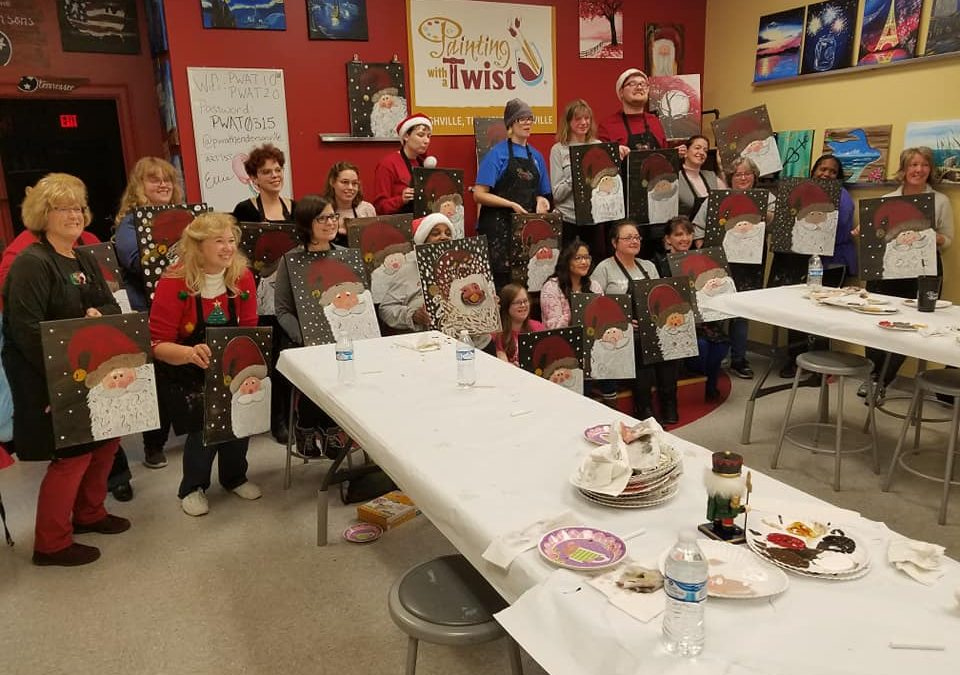 Borderless Arts Tennessee Hosts Christmas Party at Painting with a Twist